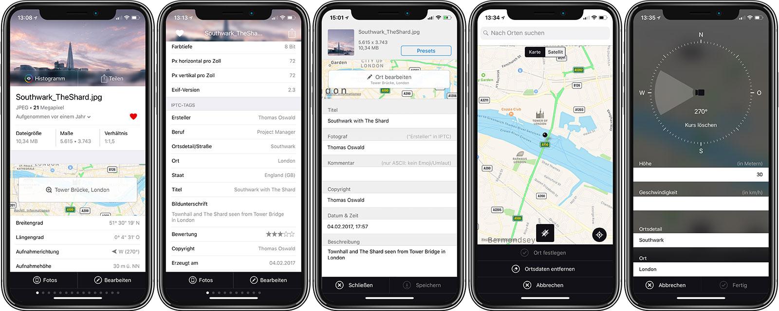 Fünf Screenshots der Hauptfunktionen der neuesten Version meiner iPhone App imagExif